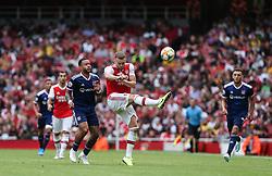 Calum Chambers of Arsenal makes a clearance - Mandatory by-line: Arron Gent/JMP - 28/07/2019 - FOOTBALL - Emirates Stadium - London, England - Arsenal v Olympique Lyonnais - Emirates Cup
