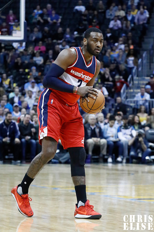 08 March 2017: Washington Wizards guard John Wall (2) looks to pass the ball during the Washington Wizards 123-113 victory over the Denver Nuggets, at the Pepsi Center, Denver, Colorado, USA.