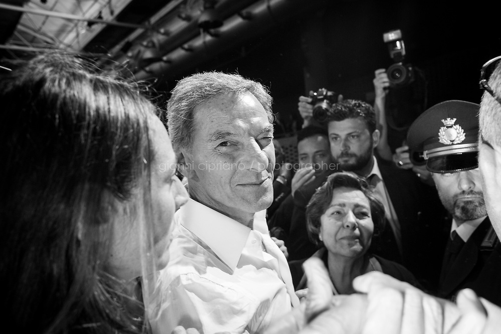 NAPLES, ITALY - 30 APRIL 2016: Gianni Lettieri, candidate for mayor of Naples in the 2016 mayoral elections, kicks off his campaign at Città della Scienza in Bagnoli, Naples, Italy, on April 30th 2016