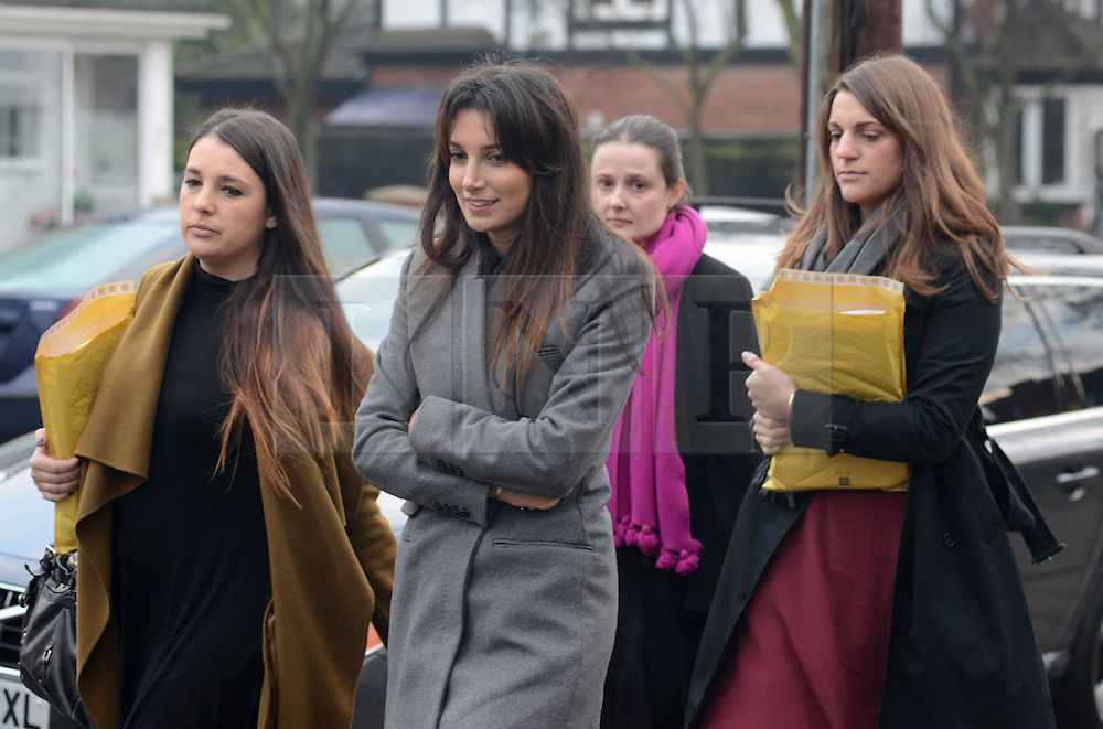 """© Licensed to London News Pictures.10/12/2013. London, UK. Joelle Rich, Associate at Schillings (L2) and other members of """"Team Cupcake"""" a group of supporters of Nigella Lawson arrive to give evidence at Isleworth Crown Court in London.Photo credit : Peter Kollanyi/LNP"""