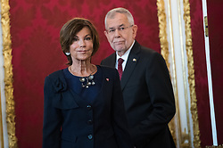 "03.06.2019, Präsidentschaftskanzlei, Wien, AUT, Angelobung der Übergangsregierung, im Bild Bundeskanzlerin Brigitte Bierlein vor Bundespräsident Alexander Van der Bellen // Austrian Chancellor Brigitte Bierlein in front of federal president of Austria Alexander Van der Bellen during inauguration of the provisional government after ""Ibiza Affair"" at Federal Presidents Office in Vienna, Austria on 2019/06/19, EXPA Pictures © 2019, PhotoCredit: EXPA/ Michael Gruber"