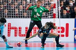 11-12-2019 JAP: Netherlands - Korea, Kumamoto<br /> Last match Main Round Group1 at 24th IHF Women's Handball World Championship, Netherlands win the last match against Korea with 36 - 24. / Delaila Amega #14 of Netherlands