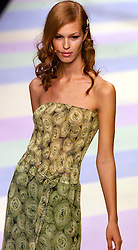 Ronit Zilkha Spring/Summer 2001 London Fashion Week.Model wears green printed rose dress .Photo by Andrew Parsons/i-Images.All Rights Reserved ©Andrew Parsons/i-images.See Instructions.