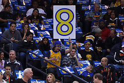 Mar 16, 2012; Oakland, CA, USA; A Golden State Warriors fan holds up a sign in support of Milwaukee Bucks point guard Monta Ellis (11) before the game at Oracle Arena. Mandatory Credit: Jason O. Watson-US PRESSWIRE