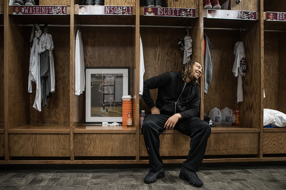 Houston, Texas - March 12, 2017: Kevin Scott sits in his locker after Selection Sunday. The TSU Tigers are headed to the NCAA Tournament after beating Alcorn State in the SWAC conference Tournament. (Michael Starghill, Jr. for The Undefeated)
