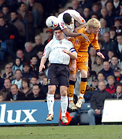 Photo: Kevin Poolman.<br />Luton Town v Wolverhampton Wanderers. Coca Cola Championship. 03/03/2007. Leon Barnett and Steve Robinson (left) of Luton push out Andy Keogh of Wolves.