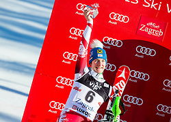 """Second placed Zettel Kathrin (AUT) celebrates at flower ceremony after the FIS Alpine Ski World Cup 2014/15 5th Ladies' Slalom race named """"Snow Queen Trophy 2015"""", on January 4, 2015 in Course Crveni Spust at Sljeme hill, Zagreb, Croatia.  Photo by Vid Ponikvar / Sportida"""