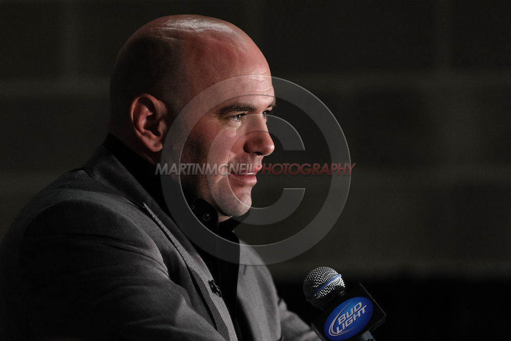 "NEWARK, NEW JERSEY, MARCH 28, 2010: UFC president Dana White is pictured at the post-fight press conference for ""UFC 111: St. Pierre vs. Hardy"" in the Prudential Center, New Jersey on March 28, 2010."