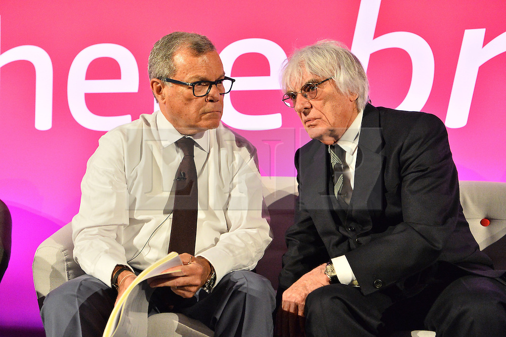 © Licensed to London News Pictures. 19/04/2016.  BERNIE ECCCLESTON and SIR MARTIN SORRELL discuss The Brexit at Advertising Week Europe 2016. ,London, UK. Photo credit: Ray Tang/LNP
