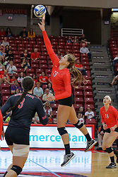 28 September 2014:  Ashley Rosch during an NCAA womens volleyball match between the Evansville Purple Aces and the Illinois State Redbirds at Redbird Arena in Normal IL