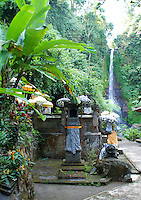 The temple at Gitgit waterfall in Bali, Indonesia.