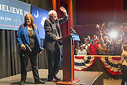 Democratic presidential candidate Senator Bernie Sanders and wife Jane wave to supporters during a campaign rally at the Memminger Theater February 16, 2016 in Charleston, South Carolina, USA.