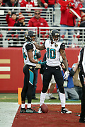 Jacksonville Jaguars wide receiver Jaelen Strong (10) celebrates with Jaguars rookie wide receiver Keelan Cole (84) after catching a second quarter touchdown pass that ties the score at 16-16 during the 2017 NFL week 16 regular season football game against the San Francisco 49ers, Sunday, Dec. 24, 2017 in Santa Clara, Calif. The 49ers won the game 44-33. (©Paul Anthony Spinelli)