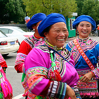 Asia, China, Kunming. Dong women, one of the many ethnic minority peoples of southern China.