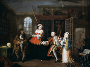 Marriage a la Mode:  The Inspection, 1743. Oil on canvas.Wiliam Hogarth (1697-1764) English painter and printmaker.    Viscount with Quack and prostitute. Image of satirical moral series on an aristocratic marriage arranged for money.
