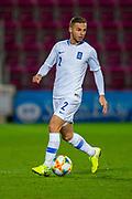 Spyros Natsos (#2) of Greece U21 during the U21 UEFA EUROPEAN CHAMPIONSHIPS match between U21 Scotland and U21 Greece at Tynecastle Park, Edinburgh, Scotland on 15 November 2019.