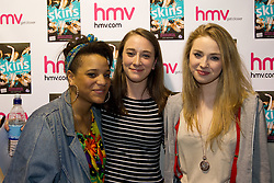 "© under license to London News Pictures. 19/3/2011: Actress Laya Lewis, author Jess Britain and actress Freya Mavor (left to right), from television's ""Skins"" at an autograph signing for the new book ""Skins: Summer Holiday"", at HMV Manchester. Credit should read, ""Joel Goodman/LNP"".."
