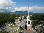 Aerial view of Brandon Baptist Church in Brandon, Vermont.