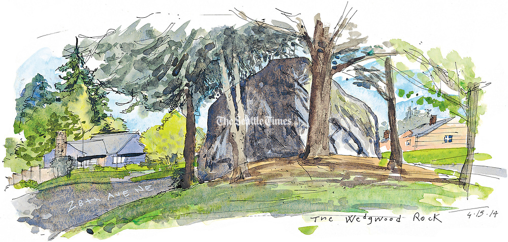 The Wedgewood Rock in North East neighborhood of Seattle.<br />