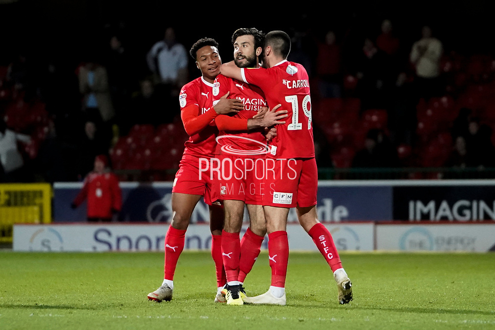 Goal, Jak McCourt of Swindon Town scores the equaliser, Swindon Town 2-2 Lincoln City during the EFL Sky Bet League 2 match between Swindon Town and Lincoln City at the County Ground, Swindon, England on 12 January 2019.