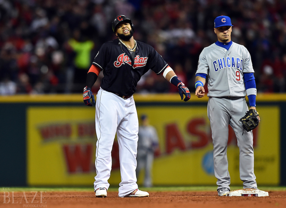 Oct 25, 2016; Cleveland, OH, USA; Cleveland Indians designated hitter Carlos Santana reacts at second base after apparent cramping against the Chicago Cubs in the third inning in game one of the 2016 World Series at Progressive Field. Mandatory Credit: Ken Blaze-USA TODAY Sports