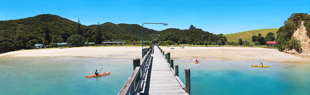 panorama of Otehei Bay on Urupukapuka Island in the Bay of Islands