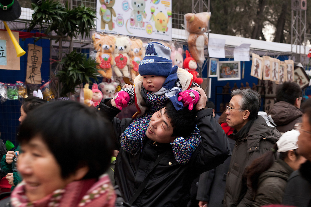 Thousands of chinese are gathering in the Di Tan park to celebrate the coming of the New Year 2011 (year of the rabbit) , during the festival of Chunjie (spring festival).