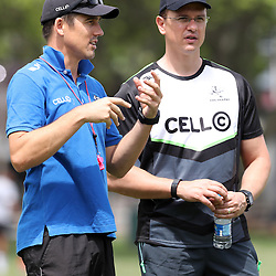 DURBAN, SOUTH AFRICA - DECEMBER 06: AB Zondagh with Pieter Kruger  during the Cell C Sharks training session at Growthpoint Kings Park on December 06, 2016 in Durban, South Africa. (Photo by Steve Haag/Gallo Images)