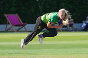 Freya Davies bowling during the Women's Cricket Super League match between Loughborough Lightning and Western Storm at Haslegrave Ground, Loughborough, United Kingdom on 6 August 2019.