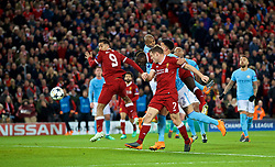 LIVERPOOL, ENGLAND - Wednesday, April 4, 2018: Liverpool's Sadio Mane scores the third goal with a header during the UEFA Champions League Quarter-Final 1st Leg match between Liverpool FC and Manchester City FC at Anfield. (Pic by David Rawcliffe/Propaganda)