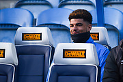 Philip Billing of Huddersfield Town (8) smiles sat on the bench before the Premier League match between Huddersfield Town and Arsenal at the John Smiths Stadium, Huddersfield, England on 9 February 2019.