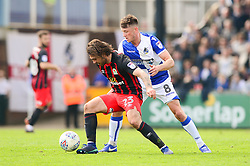 Bradley Dack of Blackburn Rovers keeps the ball under pressure from Ollie Clarke of Bristol Rovers - Mandatory by-line: Dougie Allward/JMP - 14/04/2018 - FOOTBALL - Memorial Stadium - Bristol, England - Bristol Rovers v Blackburn Rovers - Sky Bet League One