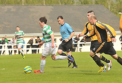 Castlebar Celtic's Jason Hunt takes on Ballinasloe Town defence during the  Connaught Cup Final.<br /> Pic Conor McKeown