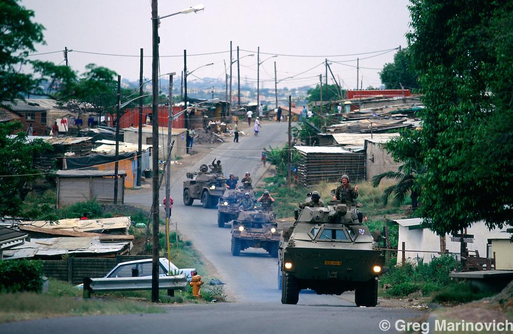 KwaMashu township, KwaZulu Natal, South Africa, 1995: SADF armoured vehicles patrol the volatile KwaMashu township in 1995.