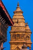 Palace of 55 Windows and Siddhi Laxmi Shikara Temple, Durbar Square,  Bhaktapur, Kathmandu Valley, Nepal.