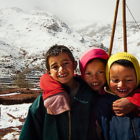 Young boys at berber village near Tizi N'Tichka