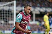 Dimitri Payet (West Ham United) during the Premier League match between Everton and West Ham United at Goodison Park, Liverpool, England on 30 October 2016. Photo by Mark P Doherty.