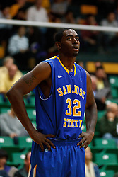 Nov 16, 2011; San Francisco CA, USA;  San Jose State Spartans center Joe Henson (32) before a free throw against the San Francisco Dons during the first half at War Memorial Gym.  San Francisco defeated San Jose State 83-81 in overtime. Mandatory Credit: Jason O. Watson-US PRESSWIRE