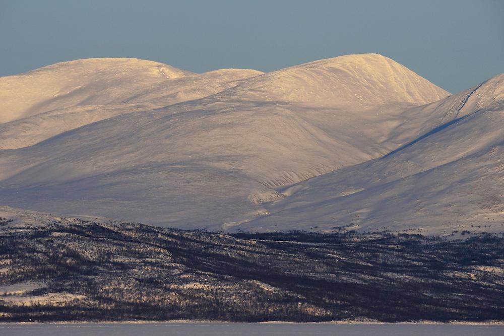 Winter landscapes at Lake Torneträsk, Abisko National Park, Lapland, Norrbotten, Sweden