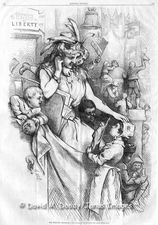 "Harper's Weekly 1876 ""The Nation's Birthday"" Thomas Nast Illustration of Lady Liberty (Columbia) with a diverse group of school kids. ""Common School of Liberty 1776 1876"" written on the wall"