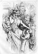 """Harper's Weekly 1876 """"The Nation's Birthday"""" Thomas Nast Illustration of Lady Liberty (Columbia) with a diverse group of school kids. """"Common School of Liberty 1776 1876"""" written on the wall"""