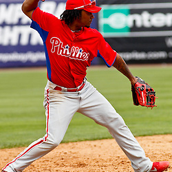 March 11, 2012; Tampa Bay, FL, USA; Philadelphia Phillies shortstop Michael Martinez (7) against the New York Yankees during a spring training game at George M. Steinbrenner Field. Mandatory Credit: Derick E. Hingle-US PRESSWIRE