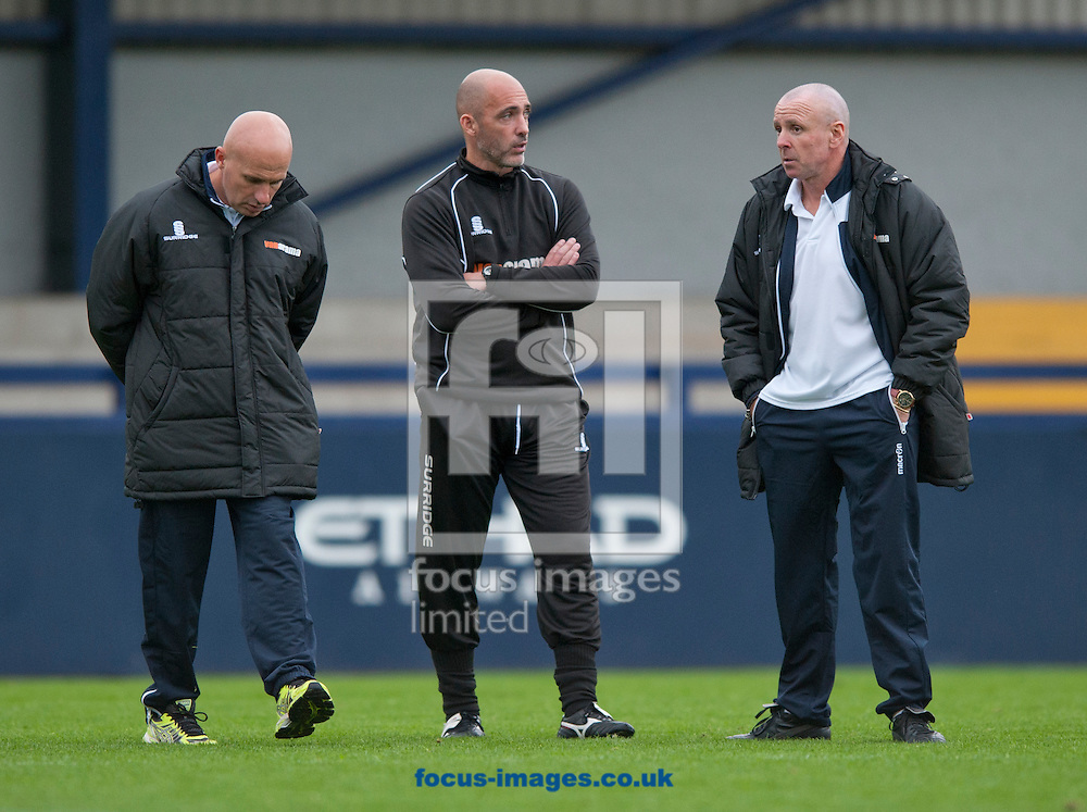Lowestoft Town joint manager Ady Gallagher (l), Director of football Craig Fleming (m) and joint manager Micky Chapman (r) following the Conference North match at Ewen Fields, Tameside<br /> Picture by Russell Hart/Focus Images Ltd 07791 688 420<br /> 20/09/2014