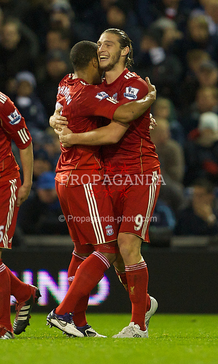 WEST BROMWICH, ENGLAND - Saturday, October 29, 2011: Liverpool's Andy Carroll celebrates scoring the second goal against West Bromwich Albion with Glen Johnson during the Premiership match at The Hawthorns. (Pic by David Rawcliffe/Propaganda)