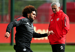 Manchester United manager Jose Mourinho watches Marouane Fellaini train - Mandatory by-line: Matt McNulty/JMP - 11/09/2017 - FOOTBALL - AON Training Complex - Manchester, England - Manchester United v FC Basel - Press Conference & Training - UEFA Champions League - Group A