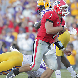 25 October 2008:  Georgia quarterback Matthew Stafford (7) runs into the endzone for a touchdown during the Georgia Bulldogs 52-38 victory over the LSU Tigers at Tiger Stadium in Baton Rouge, LA.