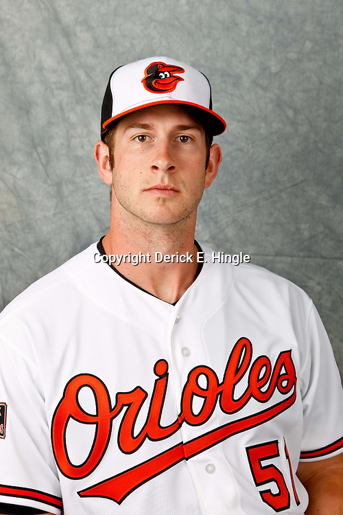 March 1, 2012; Sarasota, FL, USA; Baltimore Orioles first baseman Joe Mahoney (51) poses for a portrait during photo day at the spring training headquarters.  Mandatory Credit: Derick E. Hingle-US PRESSWIRE