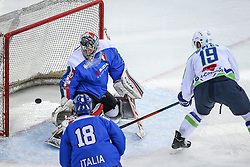 07.02.2015, Albert Schultz Eishalle, Wien, AUT, IIHF, Euro Ice Hockey Challenge, Italien vs Slowenien, im Bild Edoardo Caletti (Italien, ITA), Mark Demetz (Italien, ITA) und Ziga Pance (Slowenien, SLO) // during the IIHF Euro Ice Hockey Challenge match between Italy and Slovenia at the Albert Schultz Ice Arena, Vienna, Austria on 2015/02/07. EXPA Pictures © 2015, PhotoCredit: EXPA/ Thomas Haumer