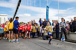 Local Junior Schools take part in activities on the iconic Clifton Suspension Bridge with Bristol Rugby Players - Mandatory byline: Rogan Thomson/JMP - 07966 386802 - 14/07/2015 - SPORT - RUGBY UNION - Bristol, England - Clifton Suspension Bridge - Webb Ellis Cup visits Bristol as part of the 2015 Rugby World Cup Trophy Tour