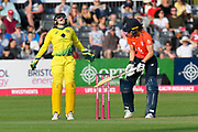 Wicket - Alyssa Healy of Australia celebrates catching Amy Jones of England off the bowling of Ashleigh Gardner of Australia during the 3rd Vitality International T20 match between England Women Cricket and Australia Women at the Bristol County Ground, Bristol, United Kingdom on 31 July 2019.
